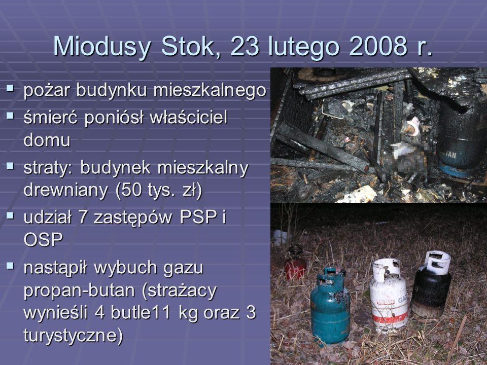 Miodusy Stok, 23 lutego 2008 r. pożar budynku mieszkalnego