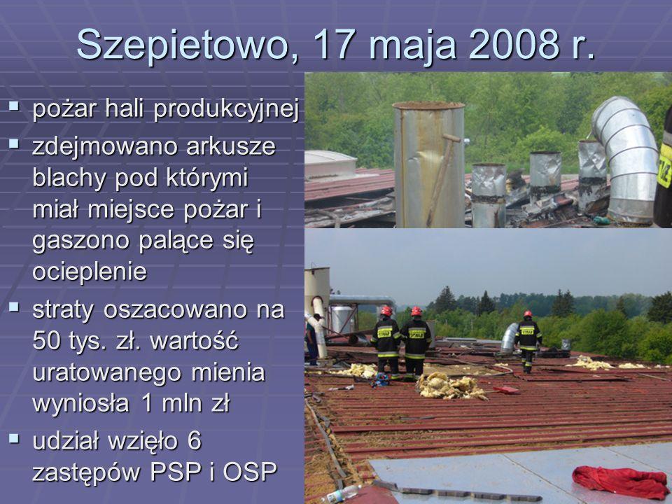 Szepietowo, 17 maja 2008 r. pożar hali produkcyjnej