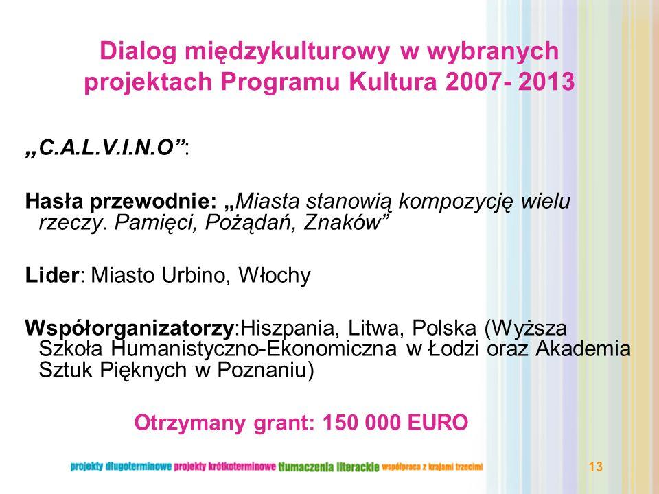 Dialog międzykulturowy w wybranych projektach Programu Kultura 2007- 2013
