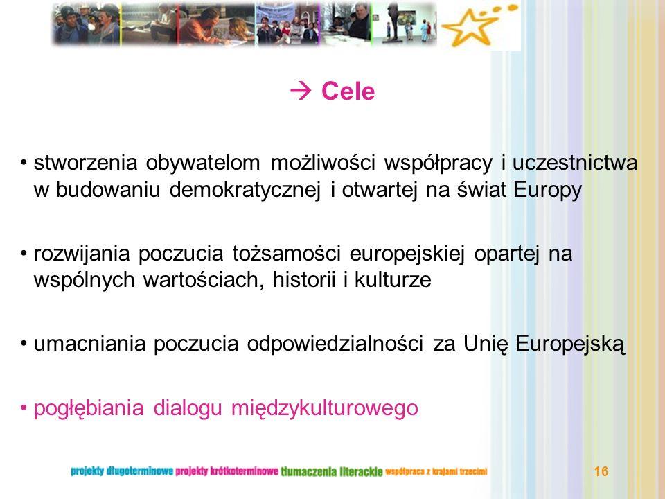  Cele stworzenia obywatelom możliwości współpracy i uczestnictwa w budowaniu demokratycznej i otwartej na świat Europy.