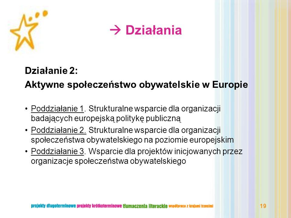  Działania Działanie 2: Aktywne społeczeństwo obywatelskie w Europie