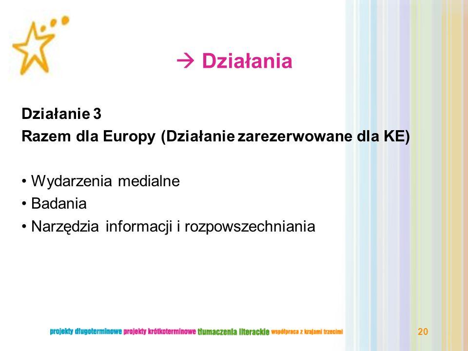  Działania Działanie 3. Razem dla Europy (Działanie zarezerwowane dla KE) Wydarzenia medialne. Badania.