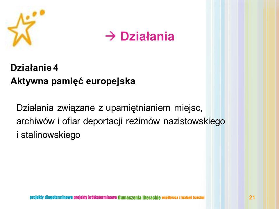  Działania Działanie 4 Aktywna pamięć europejska