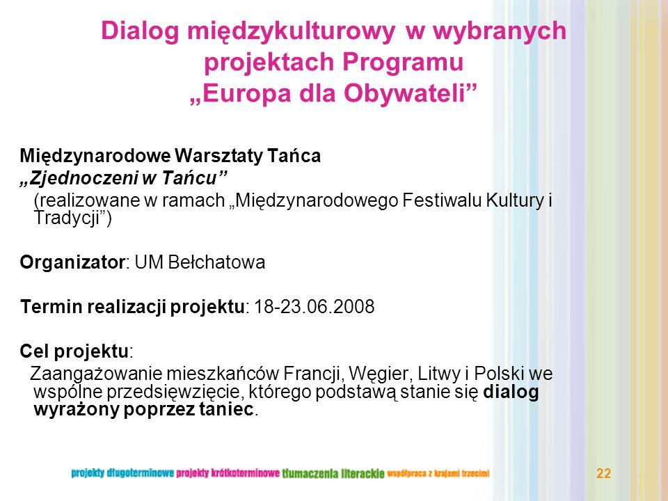 """Dialog międzykulturowy w wybranych projektach Programu """"Europa dla Obywateli"""