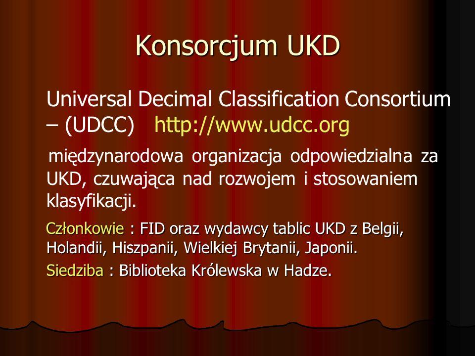 Konsorcjum UKD Universal Decimal Classification Consortium – (UDCC) http://www.udcc.org.