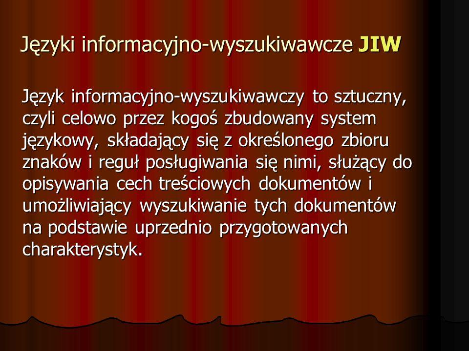Języki informacyjno-wyszukiwawcze JIW