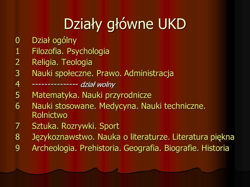 Działy główne UKD 0 Dział ogólny 1 Filozofia. Psychologia