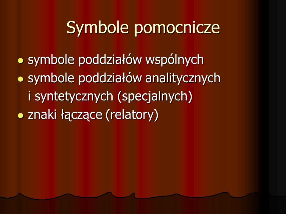 Symbole pomocnicze symbole poddziałów wspólnych