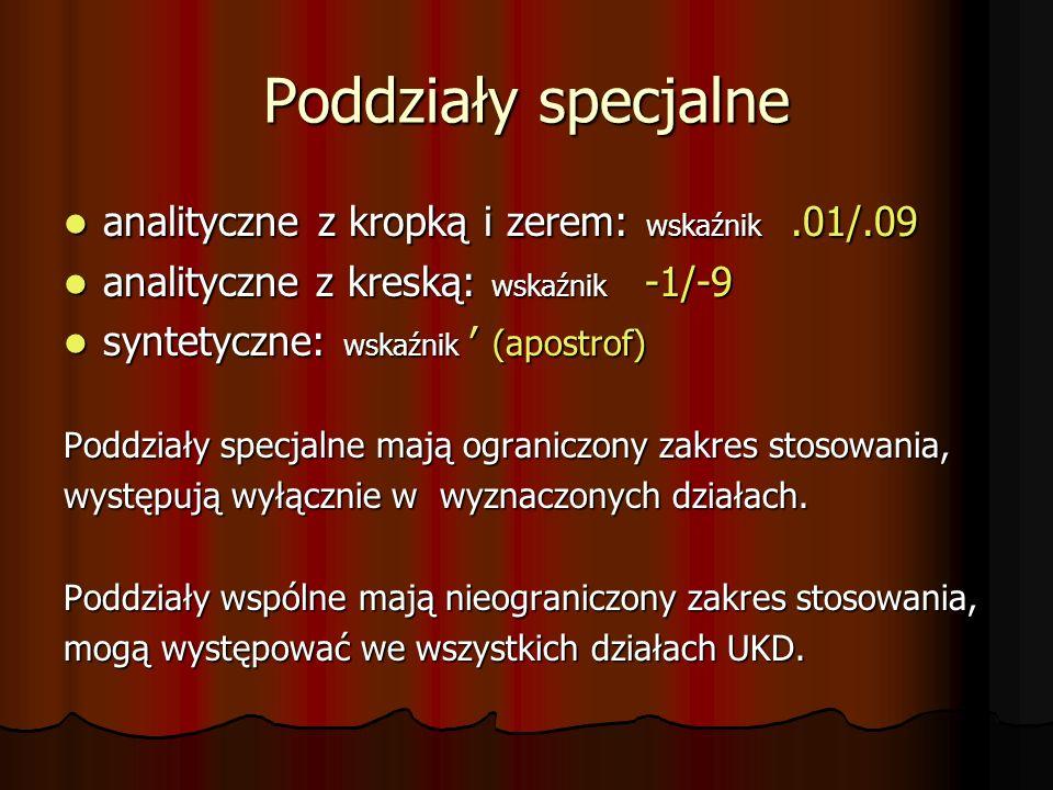 Poddziały specjalne analityczne z kropką i zerem: wskaźnik .01/.09