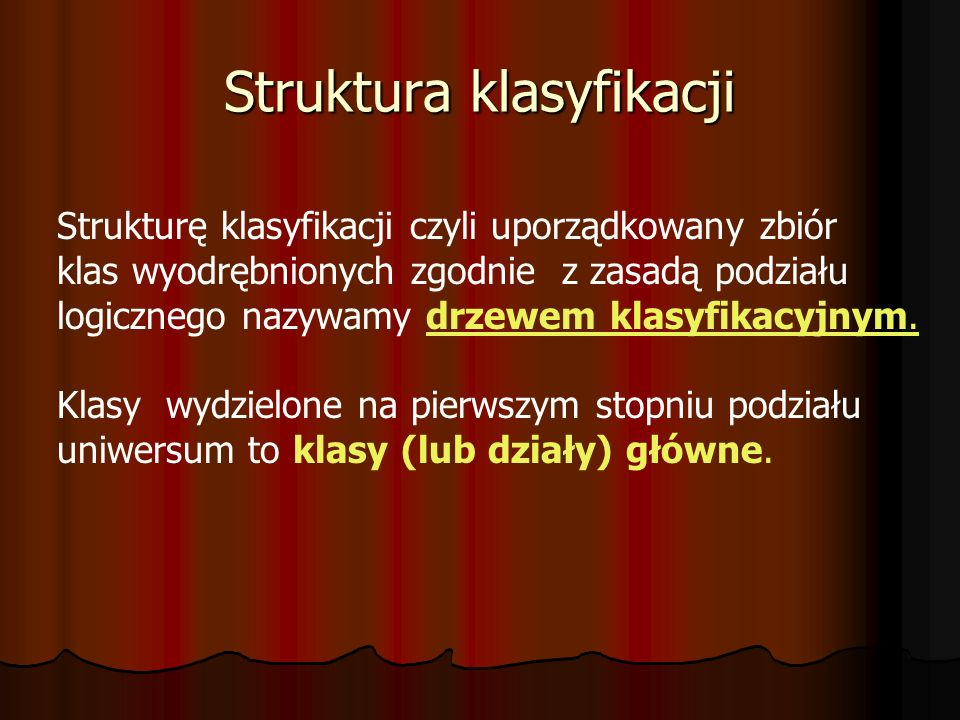 Struktura klasyfikacji