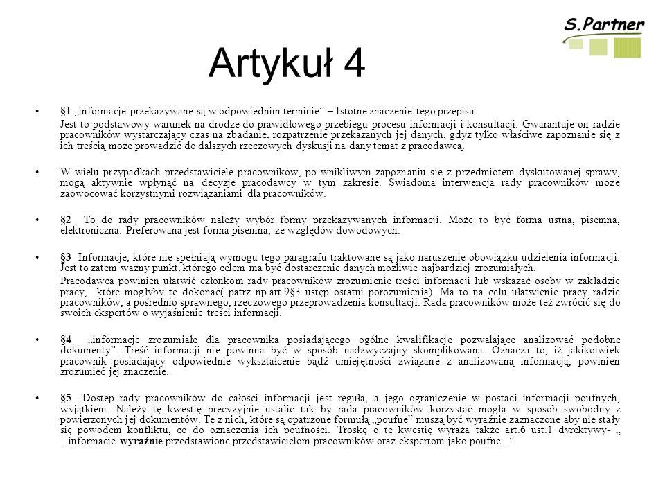 """Artykuł 4 §1 """"informacje przekazywane są w odpowiednim terminie – Istotne znaczenie tego przepisu."""