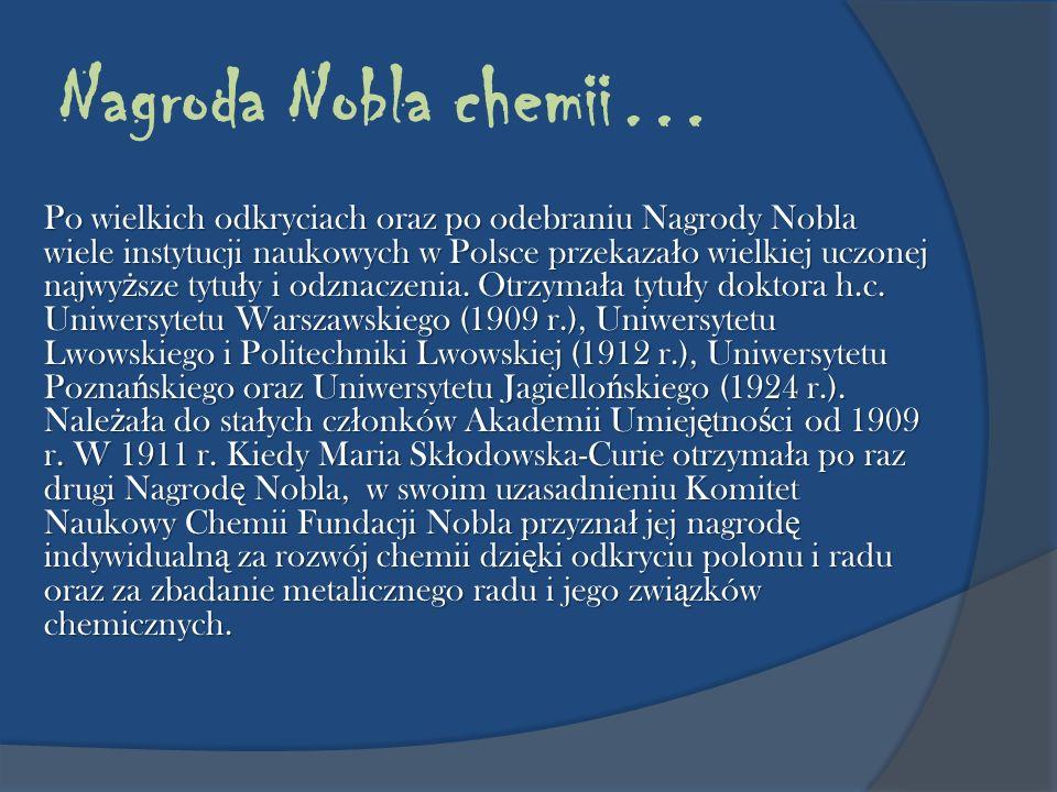 Nagroda Nobla chemii…