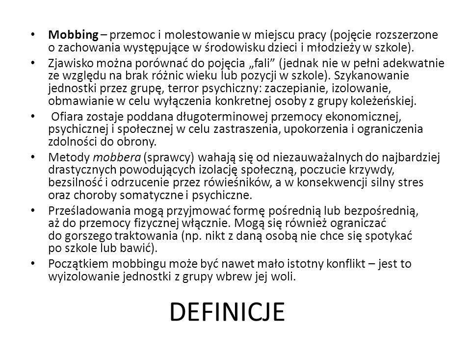 Mobbing – przemoc i molestowanie w miejscu pracy (pojęcie rozszerzone o zachowania występujące w środowisku dzieci i młodzieży w szkole).