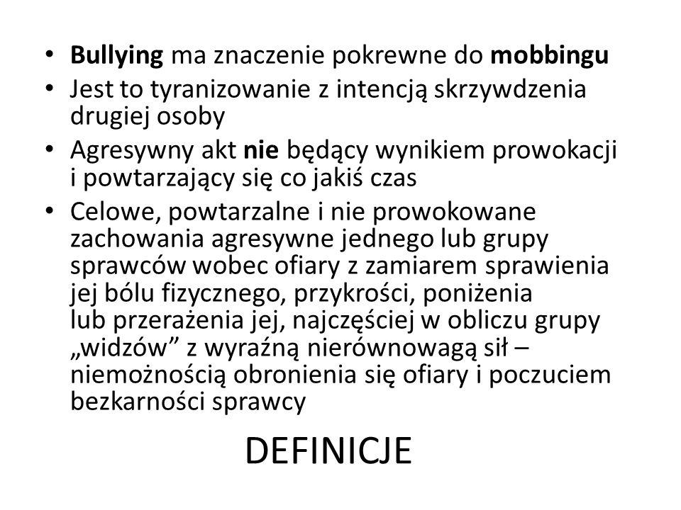 DEFINICJE Bullying ma znaczenie pokrewne do mobbingu