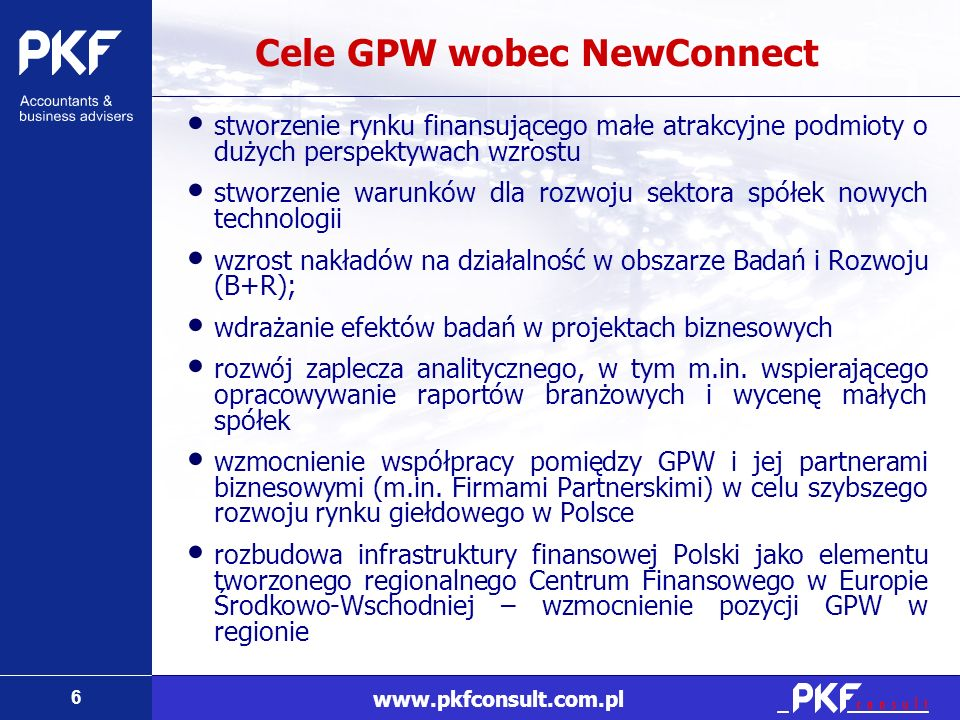 Cele GPW wobec NewConnect
