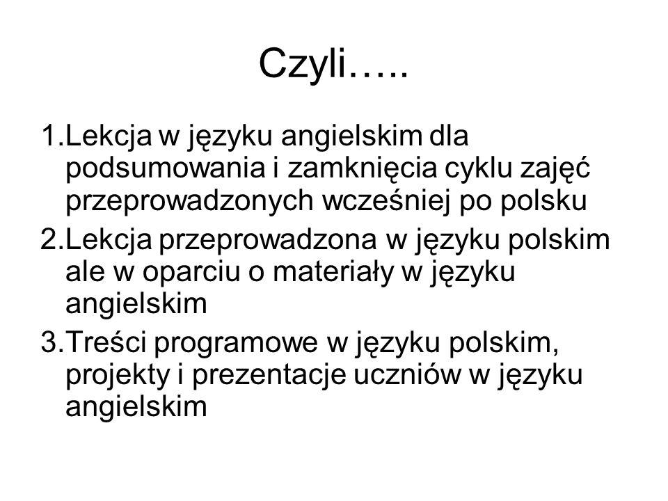 Czyli….. 1.Lekcja w języku angielskim dla podsumowania i zamknięcia cyklu zajęć przeprowadzonych wcześniej po polsku.