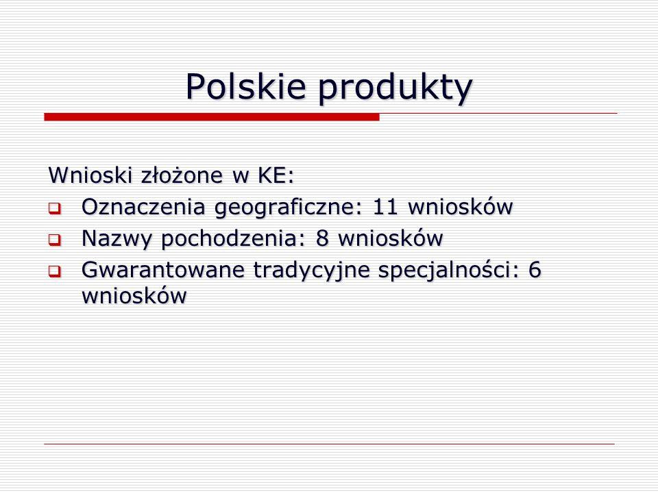 Polskie produkty Wnioski złożone w KE: