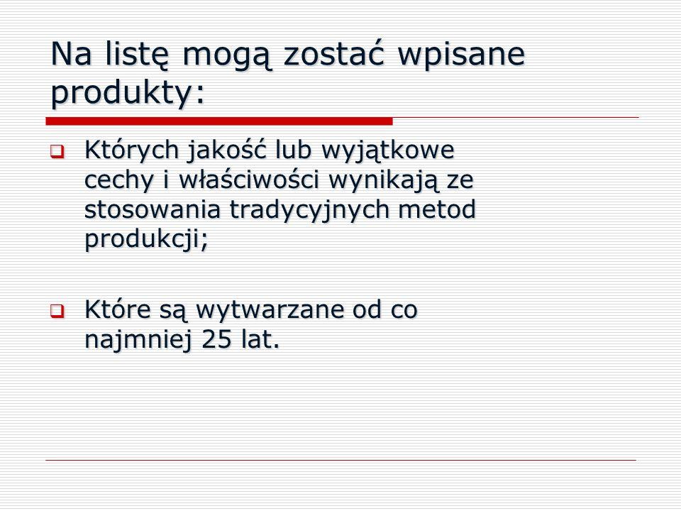 Na listę mogą zostać wpisane produkty: