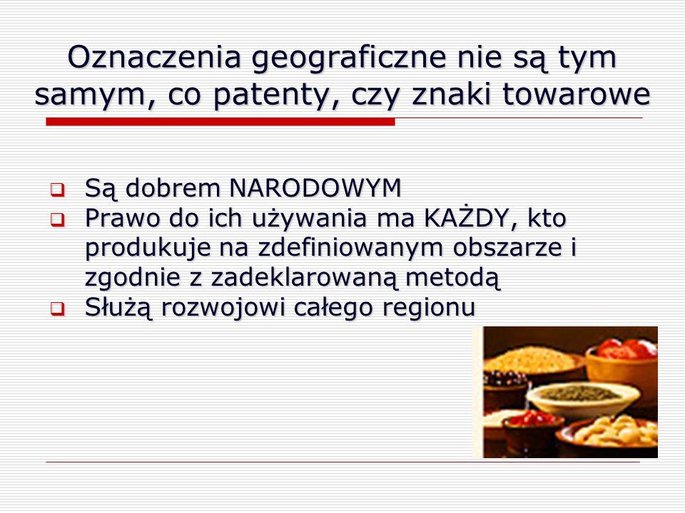 Oznaczenia geograficzne nie są tym samym, co patenty, czy znaki towarowe