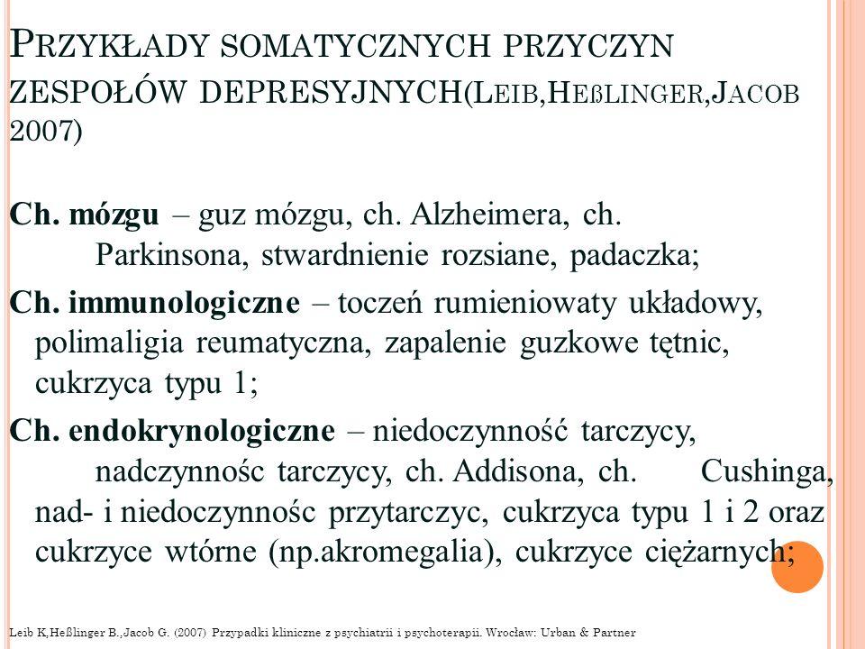 Przykłady somatycznych przyczyn zespołów depresyjnych(Leib,Heßlinger,Jacob 2007)