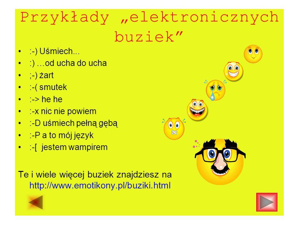 """Przykłady """"elektronicznych buziek"""