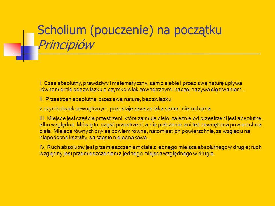 Scholium (pouczenie) na początku Principiów