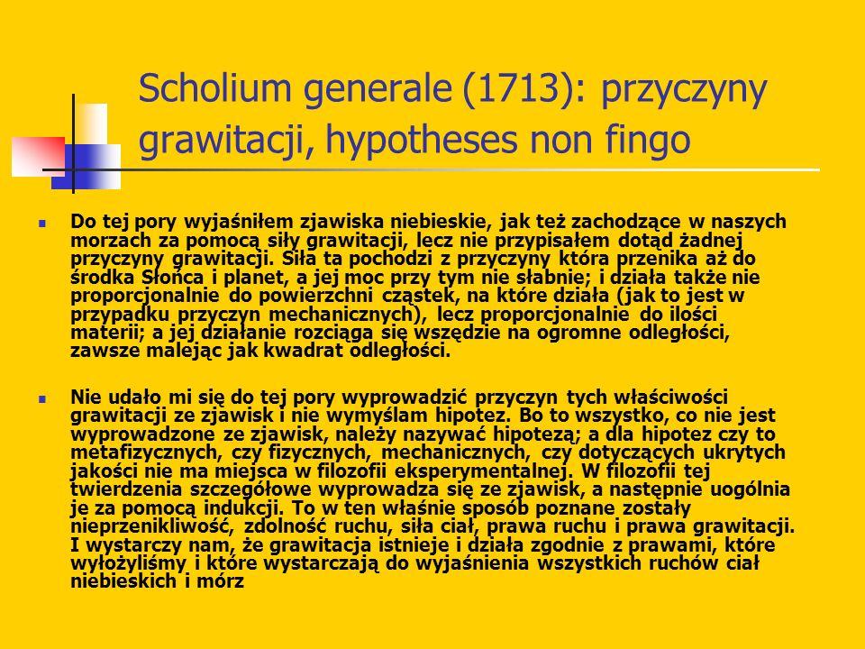 Scholium generale (1713): przyczyny grawitacji, hypotheses non fingo