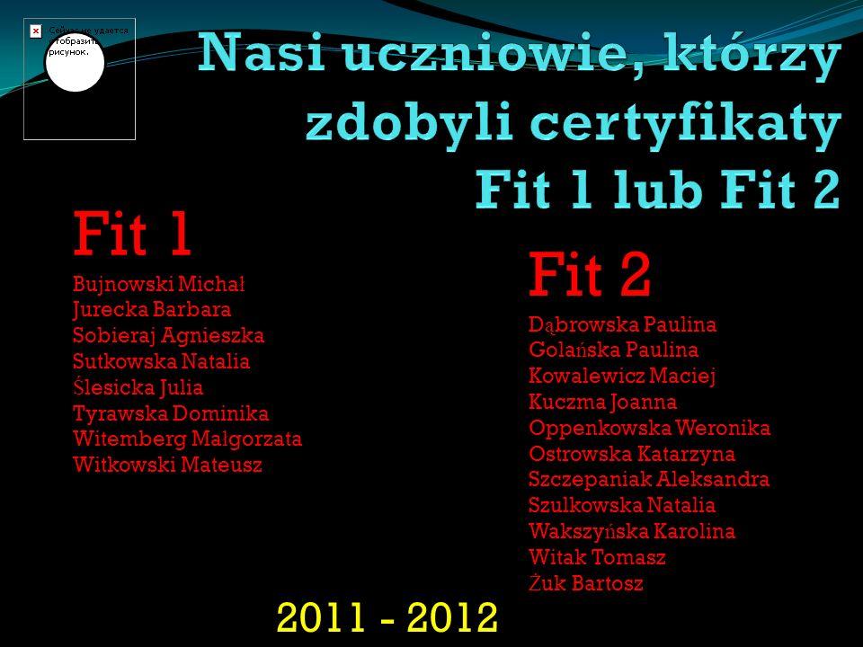 Nasi uczniowie, którzy zdobyli certyfikaty Fit 1 lub Fit 2