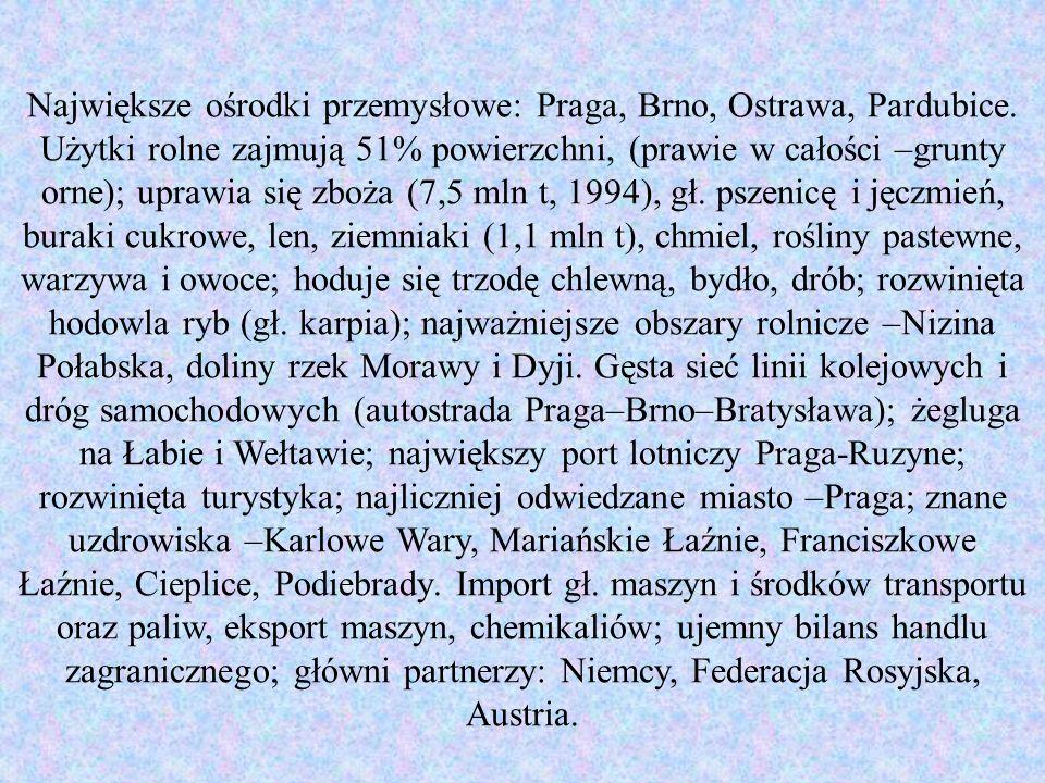 Największe ośrodki przemysłowe: Praga, Brno, Ostrawa, Pardubice