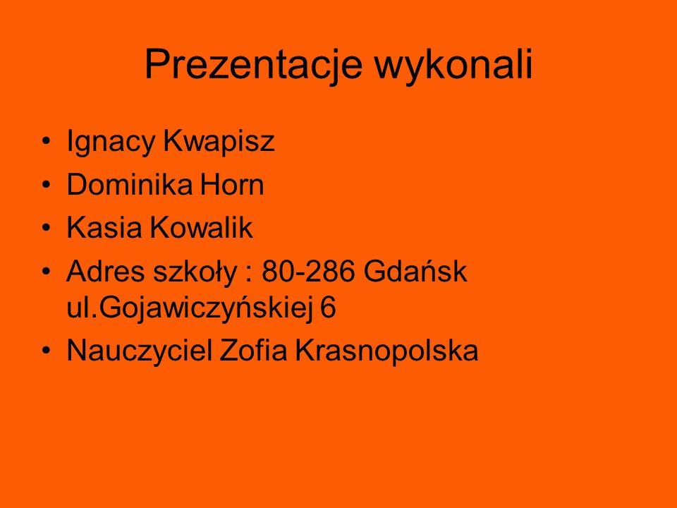 Prezentacje wykonali Ignacy Kwapisz Dominika Horn Kasia Kowalik