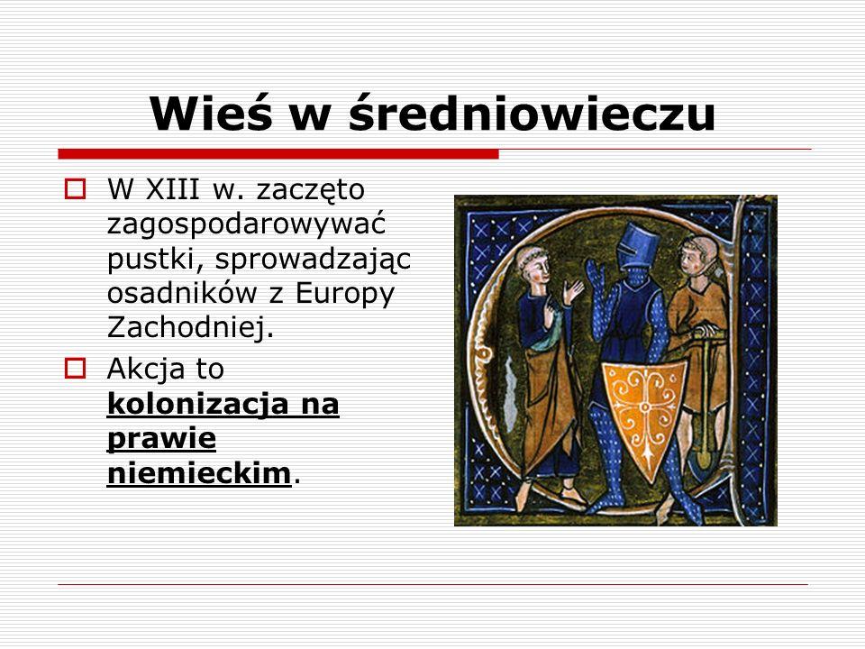 Wieś w średniowieczuW XIII w. zaczęto zagospodarowywać pustki, sprowadzając osadników z Europy Zachodniej.