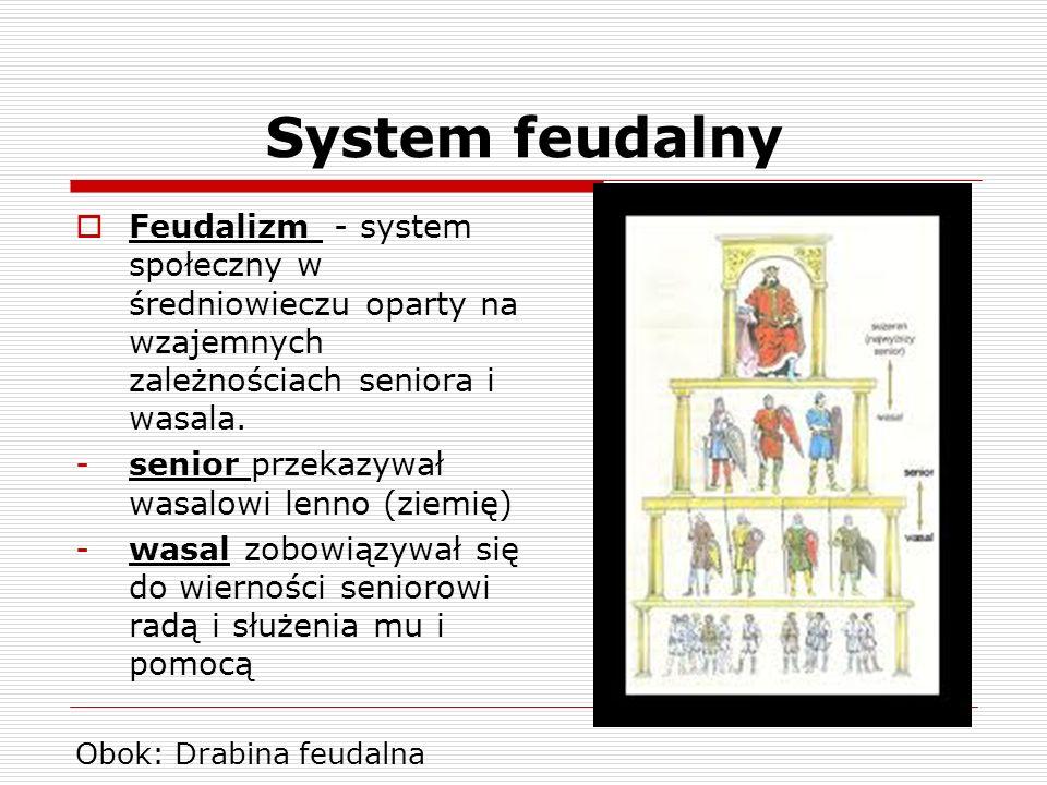 System feudalnyFeudalizm - system społeczny w średniowieczu oparty na wzajemnych zależnościach seniora i wasala.