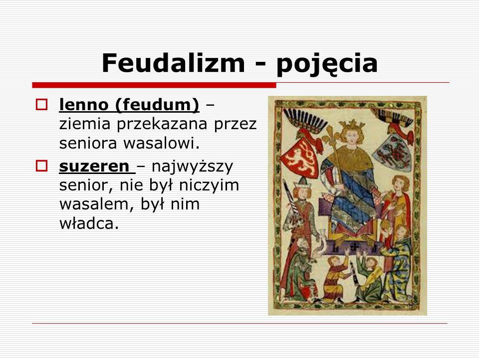 Feudalizm - pojęcia lenno (feudum) – ziemia przekazana przez seniora wasalowi.