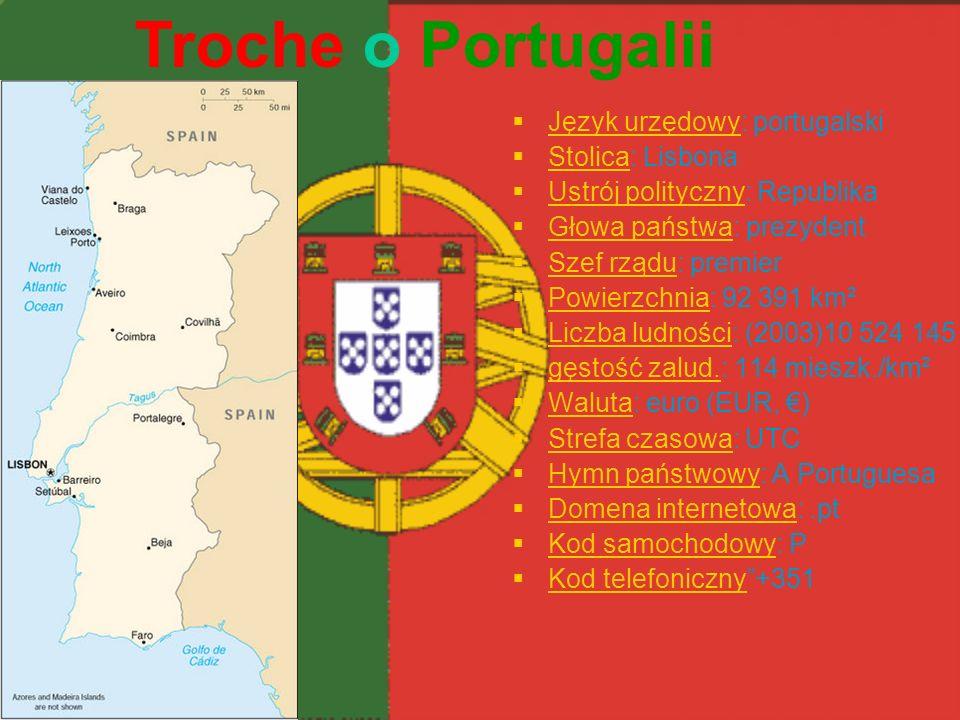 Troche o Portugalii Język urzędowy: portugalski Stolica: Lisbona