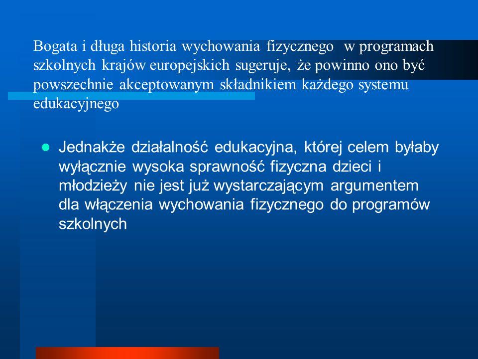 Bogata i długa historia wychowania fizycznego w programach szkolnych krajów europejskich sugeruje, że powinno ono być powszechnie akceptowanym składnikiem każdego systemu edukacyjnego