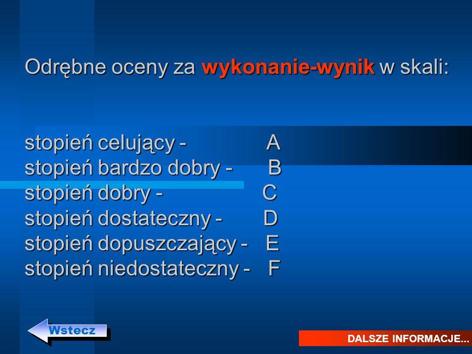 Odrębne oceny za wykonanie-wynik w skali: stopień celujący - A