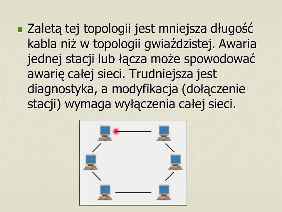 Zaletą tej topologii jest mniejsza długość kabla niż w topologii gwiaździstej.