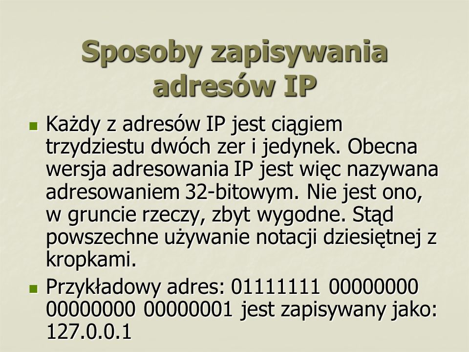Sposoby zapisywania adresów IP