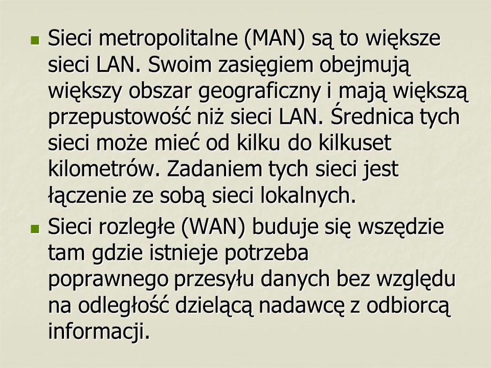 Sieci metropolitalne (MAN) są to większe sieci LAN