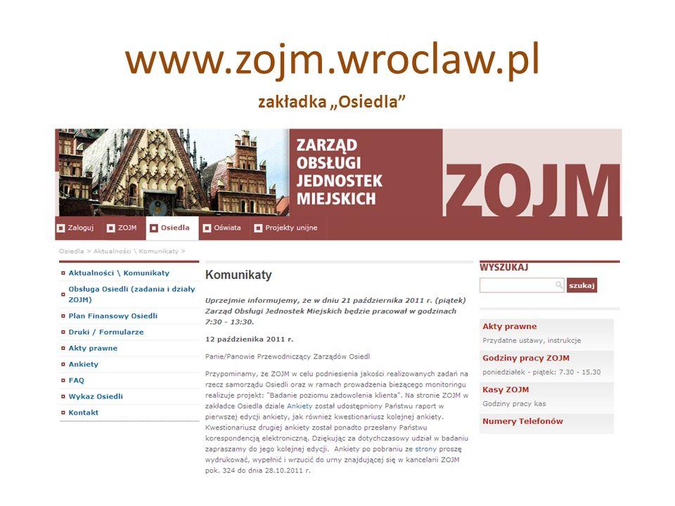 """www.zojm.wroclaw.pl zakładka """"Osiedla"""