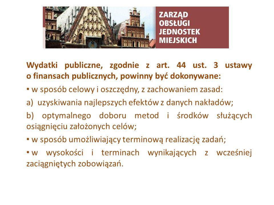 TYTUŁ SLAJDUWydatki publiczne, zgodnie z art. 44 ust. 3 ustawy o finansach publicznych, powinny być dokonywane: