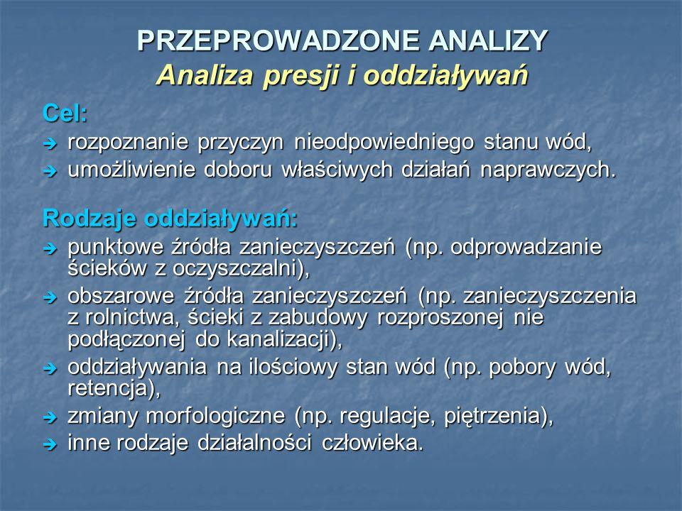 PRZEPROWADZONE ANALIZY Analiza presji i oddziaływań