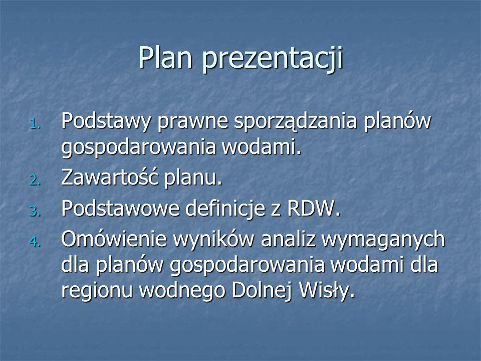 Plan prezentacjiPodstawy prawne sporządzania planów gospodarowania wodami. Zawartość planu. Podstawowe definicje z RDW.