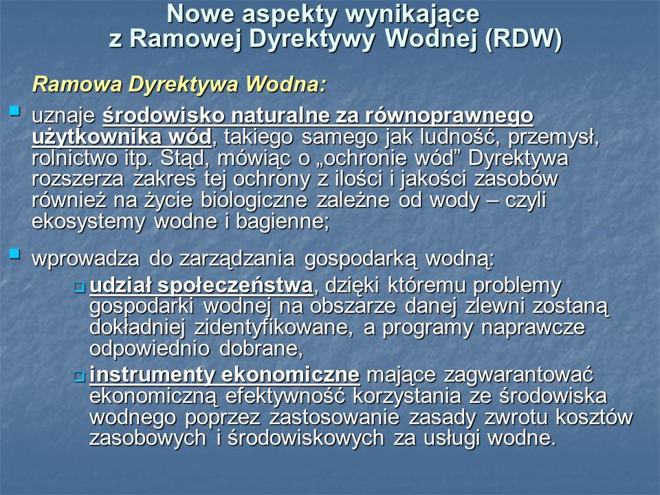 Nowe aspekty wynikające z Ramowej Dyrektywy Wodnej (RDW)