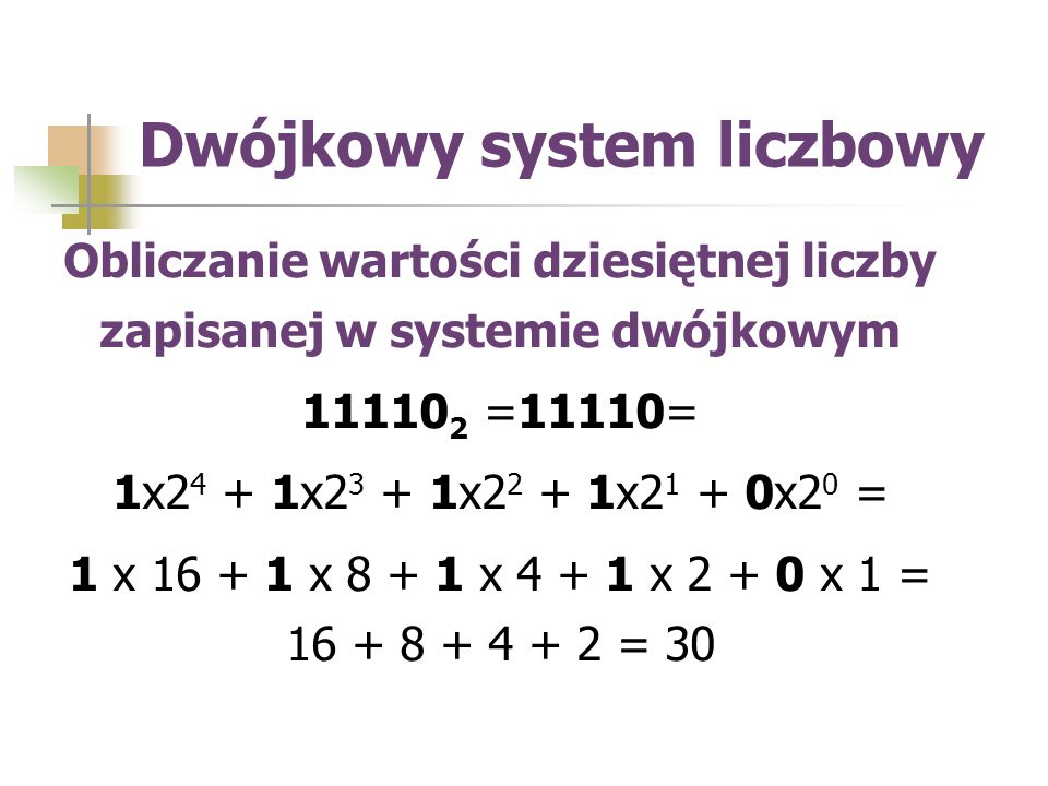 Obliczanie wartości dziesiętnej liczby zapisanej w systemie dwójkowym