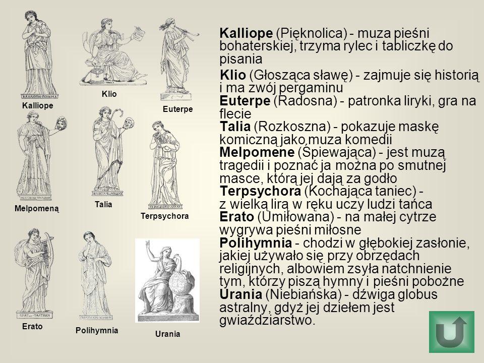 Kalliope (Pięknolica) - muza pieśni bohaterskiej, trzyma rylec i tabliczkę do pisania