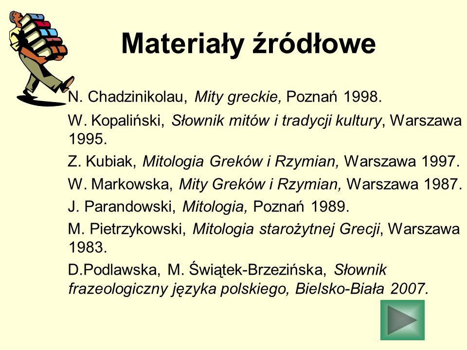 Materiały źródłowe N. Chadzinikolau, Mity greckie, Poznań 1998.