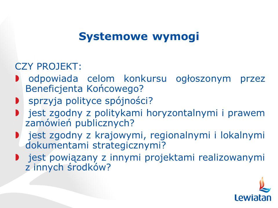 Systemowe wymogi CZY PROJEKT: