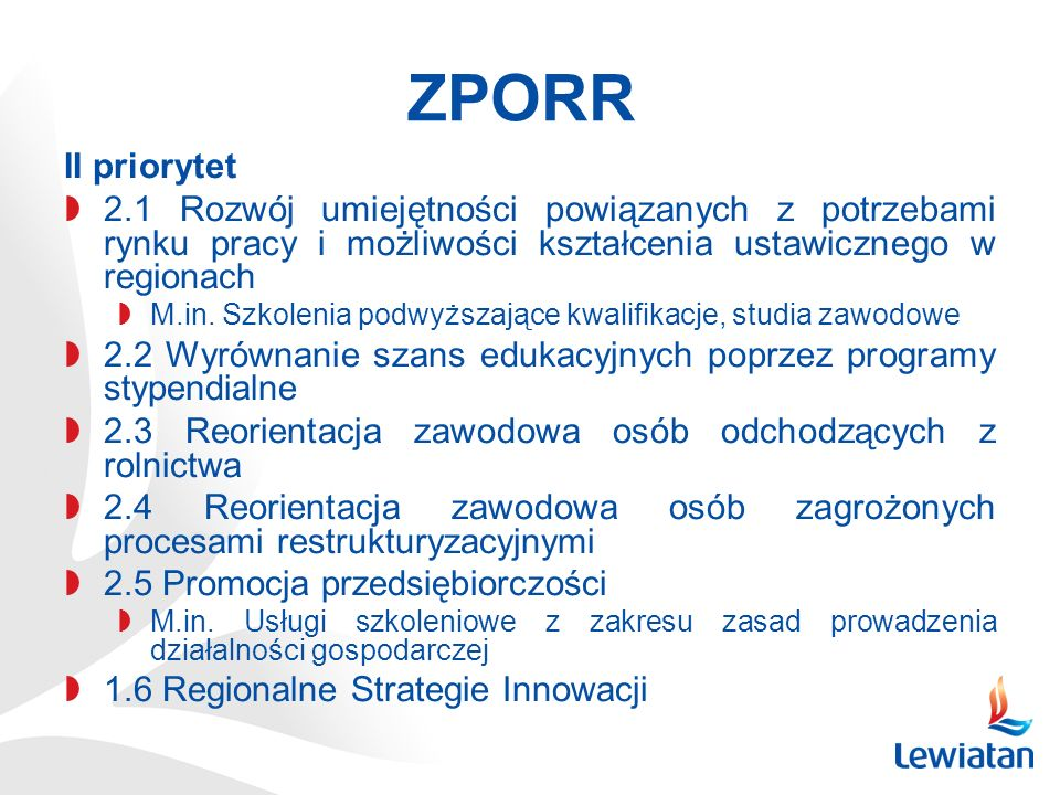 ZPORR II priorytet. 2.1 Rozwój umiejętności powiązanych z potrzebami rynku pracy i możliwości kształcenia ustawicznego w regionach.