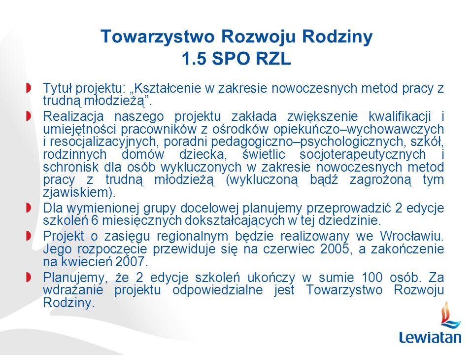 Towarzystwo Rozwoju Rodziny 1.5 SPO RZL